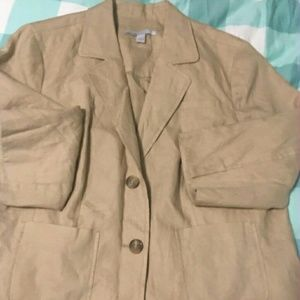 Never worn khaki linen jacket 3\4 sleeve XL